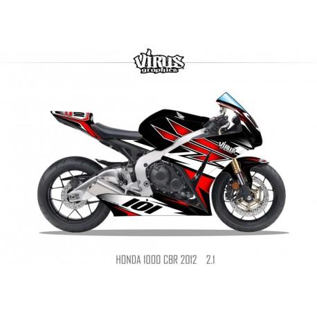 Kit déco Honda CBR1000RR 2012/16 2.1 Noir Rouge Blanc