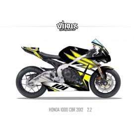 Kit déco Honda CBR1000RR 2012/16 2.2 Noir Jaune Blanc