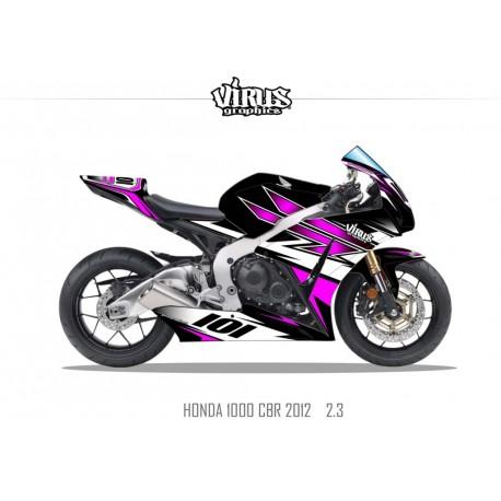 Kit déco Honda CBR1000RR 2012/16 2.3 Noir Violet Blanc