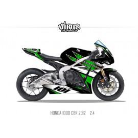 Kit déco Honda CBR1000RR 2012/16 2.4 Noir Vert Blanc