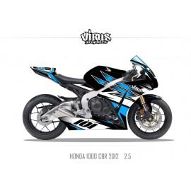 Kit déco Honda CBR1000RR 2012/16 2.5 Noir Bleu Blanc