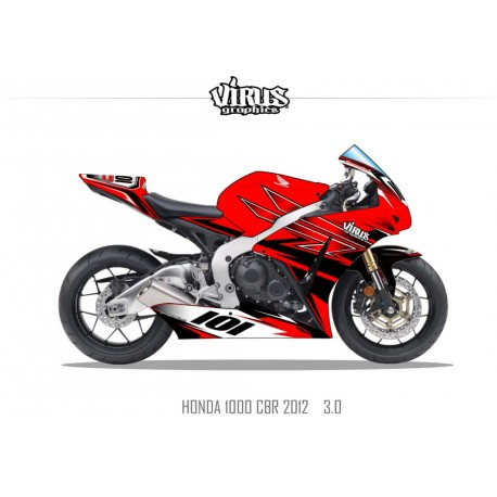 Kit déco Honda CBR1000RR 2012/16 3.0 Rouge Rouge Noir