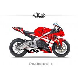 Kit déco Honda CBR1000RR 2012/16 3.1 Rouge Rouge Blanc