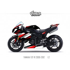 Kit déco Yamaha R1 2009/14 1.2 Noir Blanc Rouge