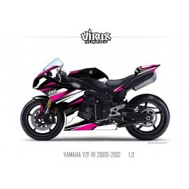 Kit déco Yamaha R1 2009/14 1.3 Noir Blanc Rose