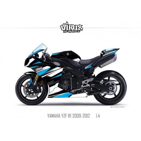 Kit déco Yamaha R1 2009/14 1.4 Noir Blanc Bleu