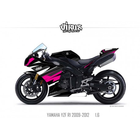 Kit déco Yamaha R1 2009/14 1.6 Noir Noir Rose