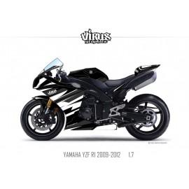 Kit déco Yamaha R1 2009/14 1.7 Noir Noir Blanc