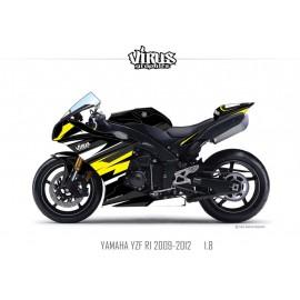 Kit déco Yamaha R1 2009/14 1.8 Noir Noir Jaune