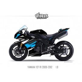 Kit déco Yamaha R1 2009/14 1.9 Noir Noir Bleu