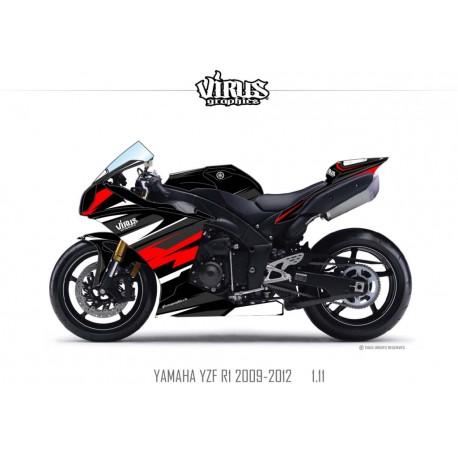 Kit déco Yamaha R1 2009/14 1.11 Noir Noir Rouge