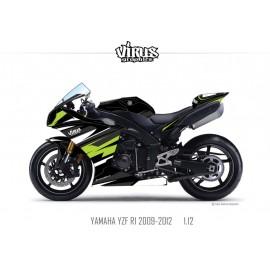 Kit déco Yamaha R1 2009/14 1.12 Noir Noir Vert
