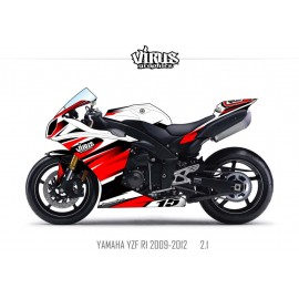 Kit déco Yamaha R1 2009/14 2.1 Blanc Rouge Noir