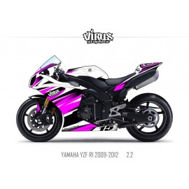 Kit déco Yamaha R1 2009/14 2.2 Blanc Violet Noir