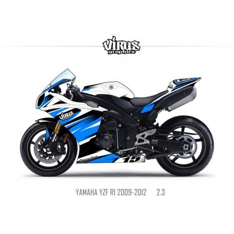 Kit déco Yamaha R1 2009/14 2.3 Blanc Bleu Noir