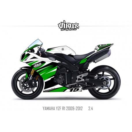 Kit déco Yamaha R1 2009/14 2.4 Blanc Vert Noir