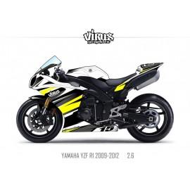 Kit déco Yamaha R1 2009/14 2.6 Blanc Noir Jaune