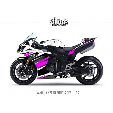 Kit déco Yamaha R1 2009/14 2.7 Blanc Noir Violet