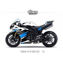Kit déco Yamaha R1 2009/14 2.8 Blanc Noir Bleu