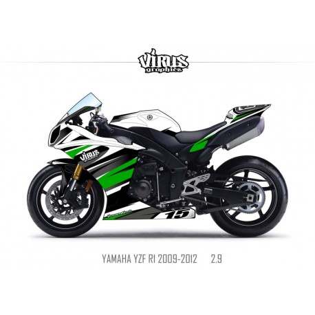 Kit déco Yamaha R1 2009/14 2.9 Blanc Noir Vert