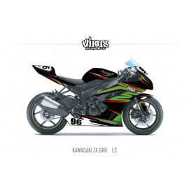Kit déco Kawasaki ZX6RR 2011 1.2 Noir Vert Rouge