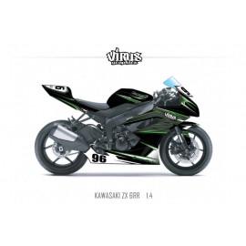 Kit déco Kawasaki ZX6RR 2011 1.4 Noir Gris Vert