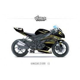 Kit déco Kawasaki ZX6RR 2011 1.5 Noir Gris Jaune