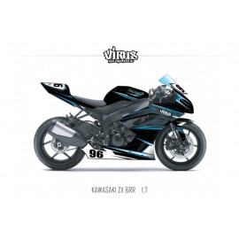 Kit déco Kawasaki ZX6RR 2011 1.7 Noir Gris Bleu