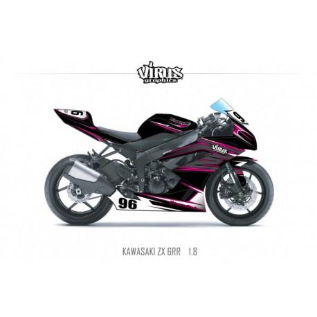 Kit déco Kawasaki ZX6RR 2011 1.8 Noir Gris Rose