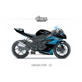 Kit déco Kawasaki ZX6RR 2011 1.10 Noir Bleu Gris