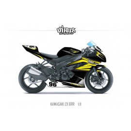 Kit déco Kawasaki ZX6RR 2011 1.11 Noir Jaune Gris