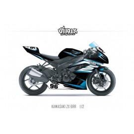 Kit déco Kawasaki ZX6RR 2011 1.12 Noir Blanc Bleu