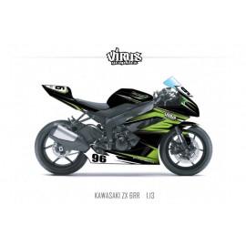 Kit déco Kawasaki ZX6RR 2011 1.13 Noir Vert Gris