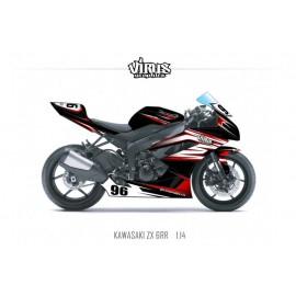 Kit déco Kawasaki ZX6RR 2011 1.14 Noir Blanc Rouge