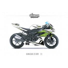 Kit déco Kawasaki ZX6RR 2011 2.1 Blanc Vert Noir