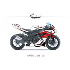 Kit déco Kawasaki ZX6RR 2011 2.3 Blanc Rouge Noir