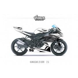 Kit déco Kawasaki ZX6RR 2011 2.5 Blanc Gris Noir