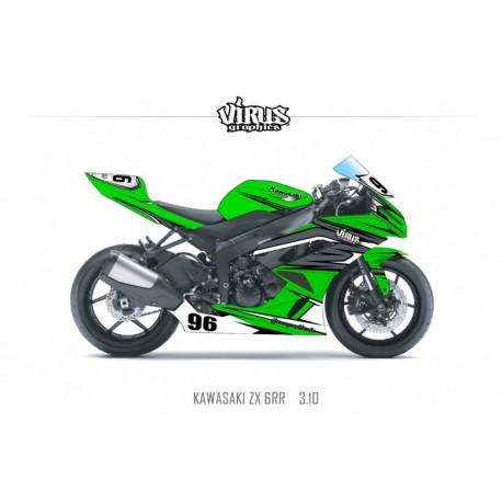 Kit déco Kawasaki ZX6RR 2011 3.10 Vert Gris Noir