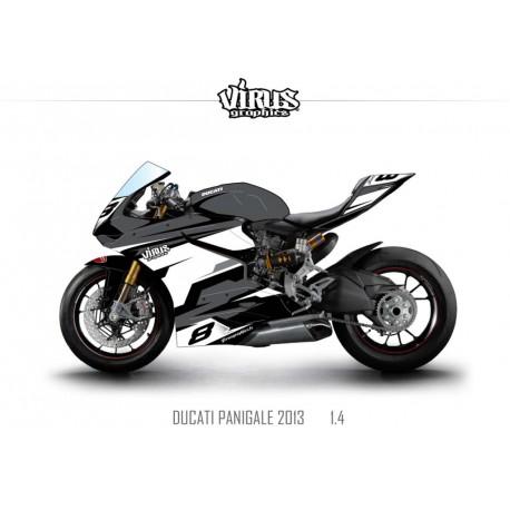 Kit déco Ducati Panigale V2 2013 1.4 Gris Blanc Noir