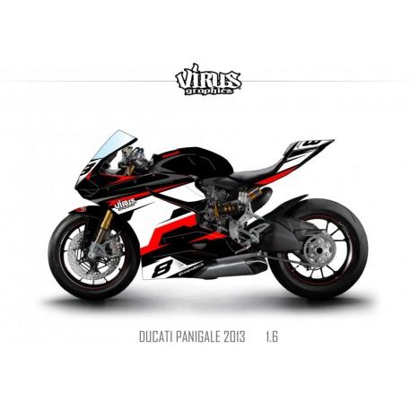 Kit déco Ducati Panigale V2 2013 1.6 Noir Blanc Rouge