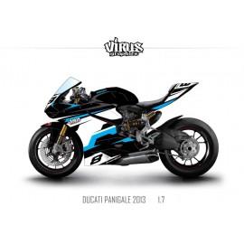 Kit déco Ducati Panigale V2 2013 1.7 Noir Blanc Bleu