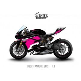 Kit déco Ducati Panigale V2 2013 1.9 Noir Rose Blanc