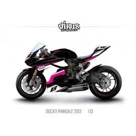Kit déco Ducati Panigale V2 2013 1.13 Noir Blanc Rose
