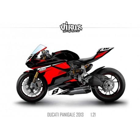 Kit déco Ducati Panigale V2 2013 1.21 Noir Rouge Gris