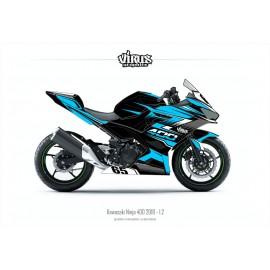 Kit déco Kawasaki Ninja 400 2018 1.2 Noir Bleu Gris