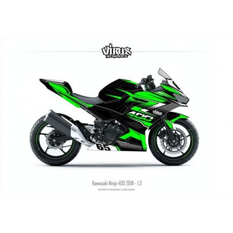 Kit déco Kawasaki Ninja 400 2018 1.3 Noir Vert Gris