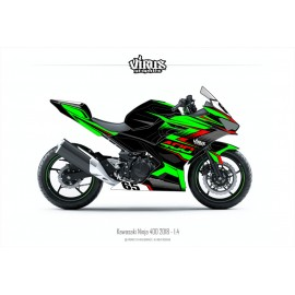Kit déco Kawasaki Ninja 400 2018 1.4 Noir Vert Rouge