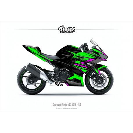 Kit déco Kawasaki Ninja 400 2018 1.6 Noir Vert Rose