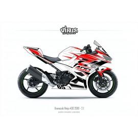 Kit déco Kawasaki Ninja 400 2018 2.1 Blanc Rouge Noir