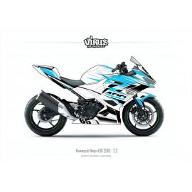 Kit déco Kawasaki Ninja 400 2018 2.2 Blanc Bleu Noir